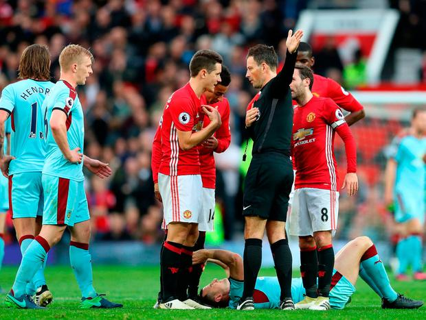 'The problems are piling up on all sides for Mourinho, whose out-of-touch side finished with 10 men after Ander Herrera received his second yellow card of the game 20 minutes from the end.' Photo: Getty