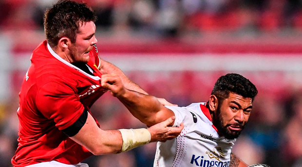Ulster's Charles Piutau is tackled by Munster's Peter O'Mahony during the Guinness PRO12 match at Kingspan Stadium on Friday night. Photo: Stephen McCarthy/Sportsfile