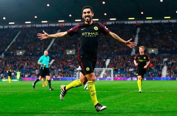 Ilkay Gundogan of Manchester City celebrates scoring his team's third goal. Photo: Getty