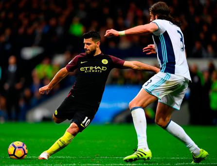 Sergio Aguero of Manchester City scores his team's second goal. Photo: Getty