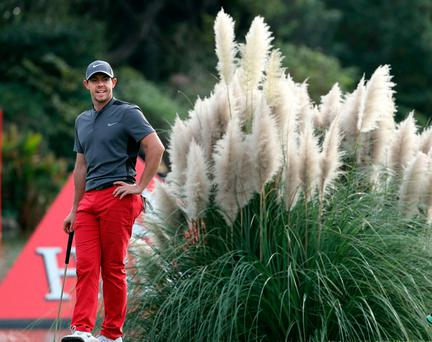 Rory McIlroy waits for his turn at the 18th hole during the 2016 WGC-HSBC Champions golf tournament at the Sheshan International Golf Club in Shanghai