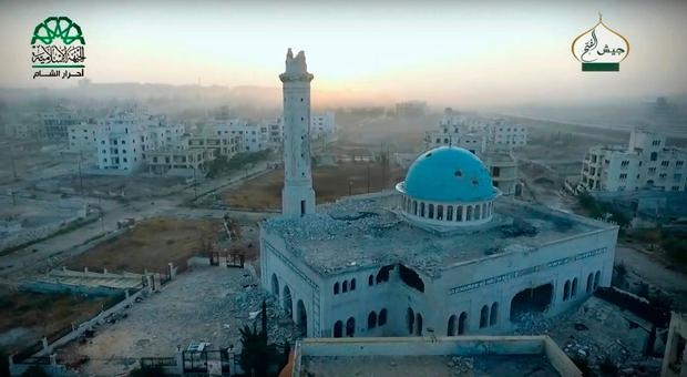 This still image taken from undated drone footage, posted online by the communications arm of Ahrar al-Sham militant group (Ahrar al-Sham, militant video, via AP)