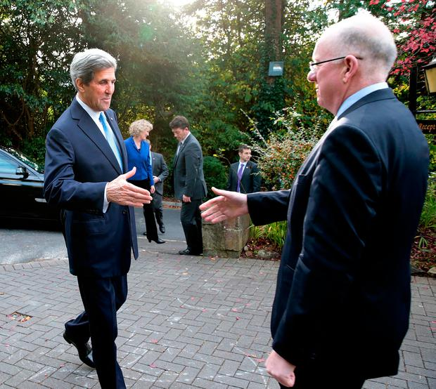The United States Secretary of State, John Kerry in Ireland for a one-day visit. Pic shows: Mr. Charles Flanagan T.D.; Minister for Foreign Affairs & Trade greets The United States Secretary of State, John Kerry at The Aherlow House Hotel, Glen of Aherlow, Co. Tipperary. Pic: Maxwells Photography