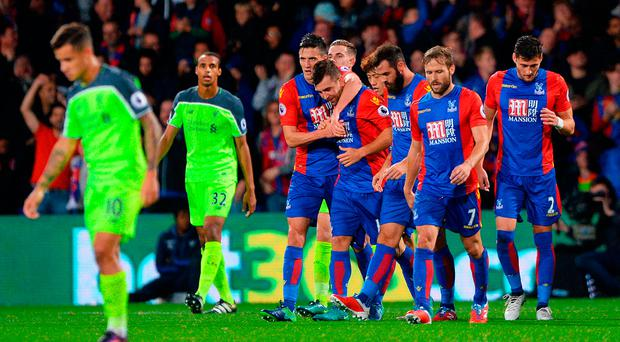 Crystal Palace's James McArthur celebrates scoring his side's first goal against Liverpool