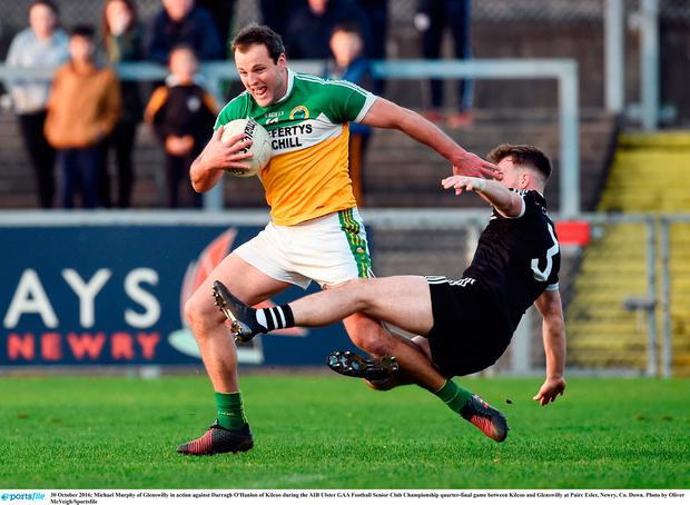 30 October 2016; Michael Murphy of Glenswilly in action against Darragh O'Hanlon of Kilcoo during the AIB Ulster GAA Football Senior Club Championship quarter-final game between Kilcoo and Glenswilly at Pairc Esler, Newry, Co. Down. Photo by Oliver McVeigh/Sportsfile