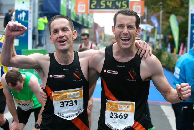 Mark Birmingham, left, from Meath and Matt McGuinness, from Dublin celebrate. Photo: Damien Eagers