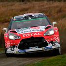Britain's Kris Meeke and co-driver Ireland's Paul Nagle drive their Abu Dhabi Total World Rally Team Citreon DS3 WRC. Photo: Getty Images