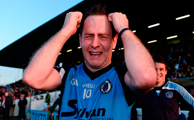Joe Lyons of Simonstown Gaels reacts at the final whistle following his team's victory in the Meath County Senior Club Football Championship Final game between Donaghmore/Ashbourne and Simonstown at Pairc Táilteann in Navan, Co. Meath. Photo by Seb Daly/Sportsfile
