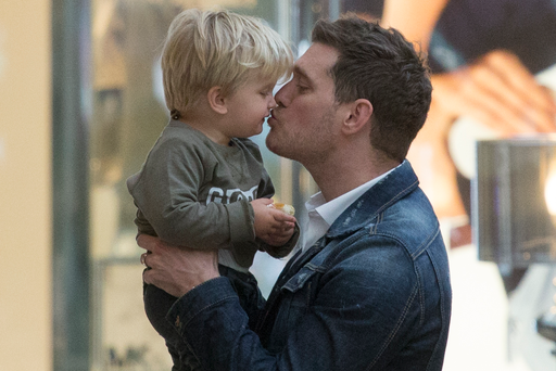 Michael Buble and son Noah in Madrid, Spain in 2016.