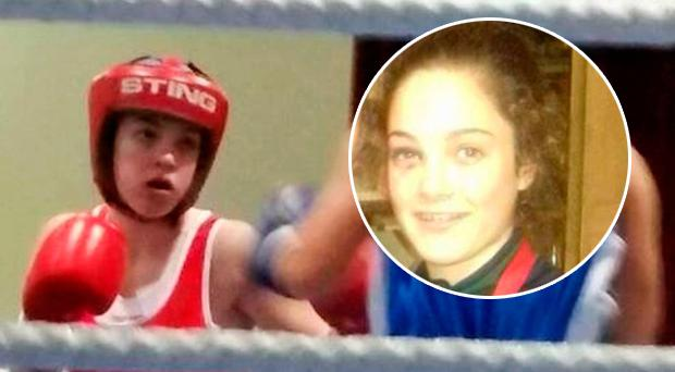 Mary Kate Nevin (15), seen with black eye (inset)