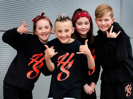 Dancers Holly Lloyd Peate (11), Kyle Hall (10), Molly Fitzpatrick (9) and Jacob Keogh (12) were chosen to perform with Justin Bieber. Photo: Steve Humphreys