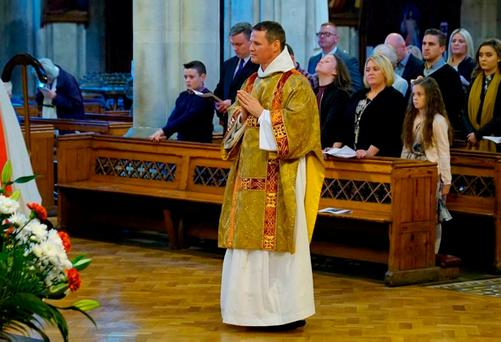 Philip Mulryne during his ordination as a deacon in the Dominican Order by Archbishop Diarmuid Martin at St Saviour's Church in north Dublin. Photo: Dominican Order/PA Wire
