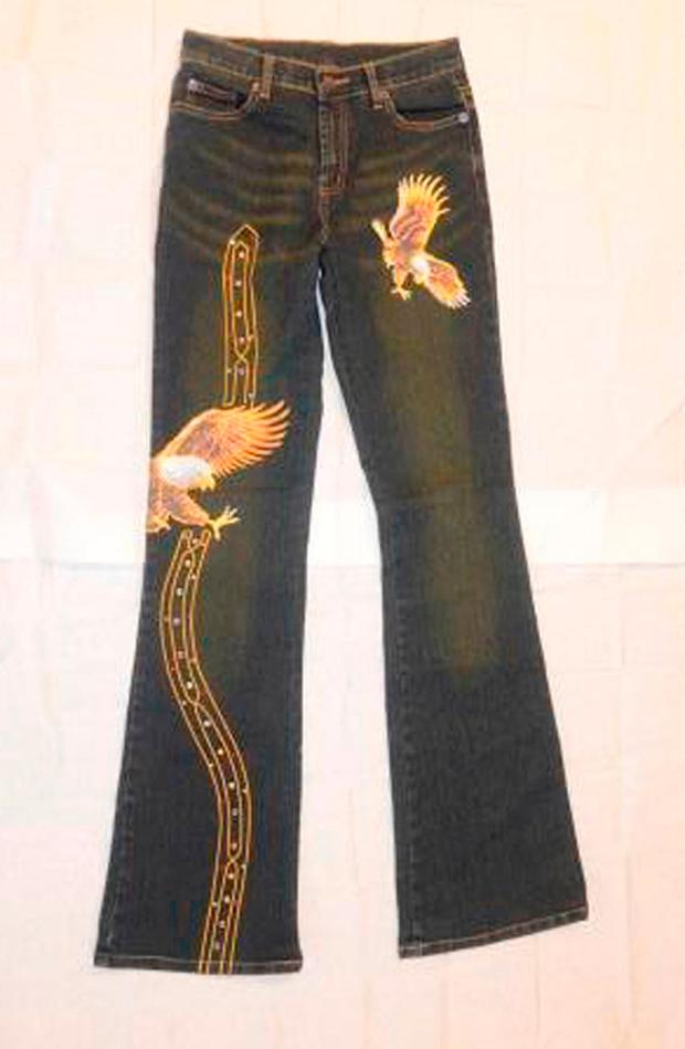A pair of jeans similar to those worn by Charlene Downes, 14, when she disappeared from her home town of Blackpool on Saturday, November 1, 2003 Credit: Lancashire Police/PA Wire