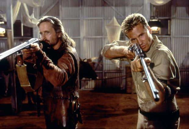 American actors Michael Douglas and Val Kilmer on the set of The God and the Darkness, directed by Stephen Hopkins. (Photo by Constellation Entertainment/Sunset Boulevard/Corbis via Getty Images)