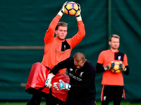 Liverpool are trying to toughen up Loris Karius by using rugby tackle pads in training Getty