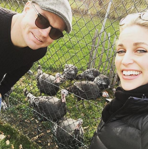 Amy and Brian spent the weekend scoping out turkeys. Photo: Instagram @AmyHuberman
