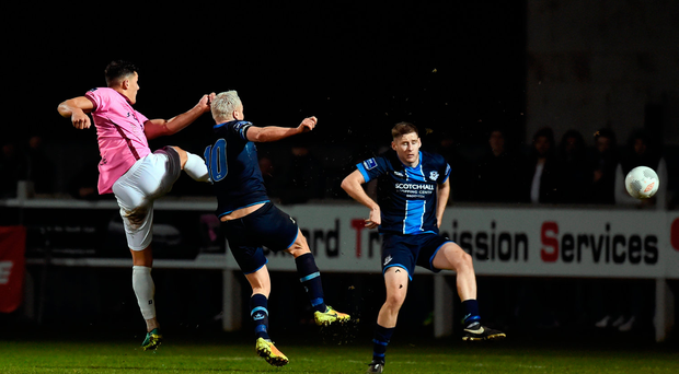 Lee Chin of Wexford Youths scores his side's second goal against Drogheda United
