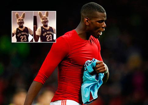 Paul Pogba dressed up as a 'killer bunny'