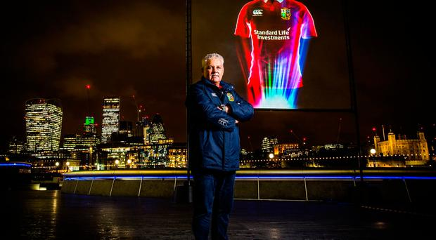 Handout photo dated 01/11/16 provided by Synergy PR/Canterbury of British & Irish Lions head coach Warren Gatland posing next to a hologram projection of the official British & Irish Lions Jersey ahead of their 2017 tour to New Zealand. PRESS ASSOCIATION