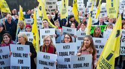 A protest by ASTI teachers at the Dáil last month after the announcement of industrial action. Photo: Arthur Carron
