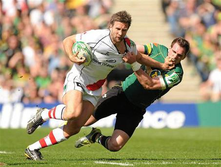 Simon Danielli (left) in action against Northampton in 2011. Credit; Sportsfile