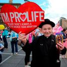 A priest at an anti-abortion rally in Belfast. Photo: Paul Faith/Getty