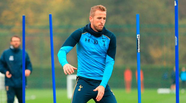 Harry Kane during a training session at Tottenham Training Centre, London. Photo: Adam Davy/PA Wire