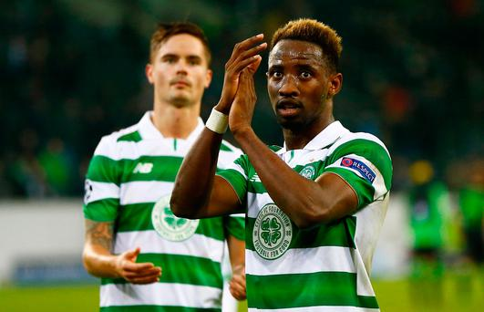 Celtic goalscorer Moussa Dembele applauds fans at full time. Reuters / Wolfgang Rattay