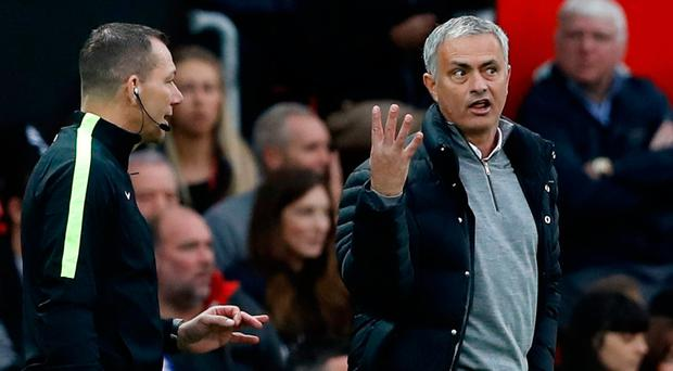Manchester United manager Jose Mourinho has a word with the fourth official. Photo: Action Images via Reuters / Carl Recine