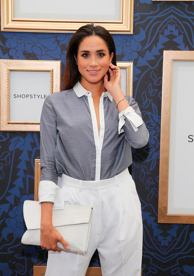 Meghan Markle attends an exclusive preview of the Marchesa Voyage for ShopStyle collection on September 5, 2014 in New York City. (Photo by Neilson Barnard/Getty Images for ShopStyle)