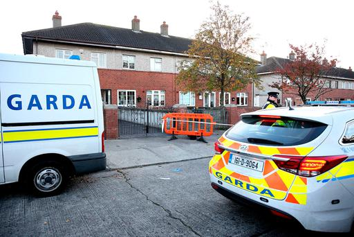 The scene of a shooting on Raheen Drive in Cherry Orchard this morning. Picture: Gerry Mooney