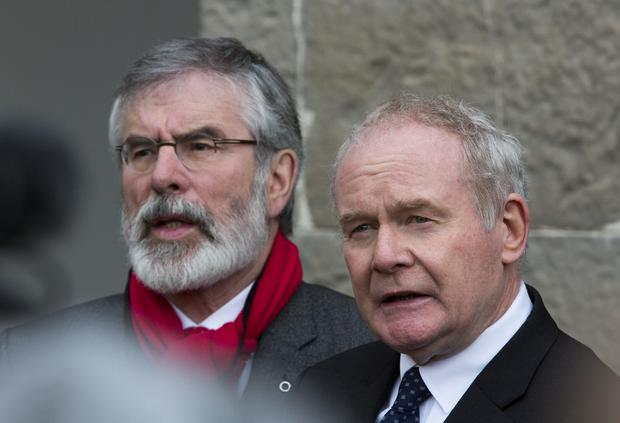 Pictured at The All Ireland Civic Dialogue on Brexit at The Royal Hospital, Kilmainham today were, Sinn Feins' , Gerry Adams and Martin McGuinness. Pic Colin O'Riordan