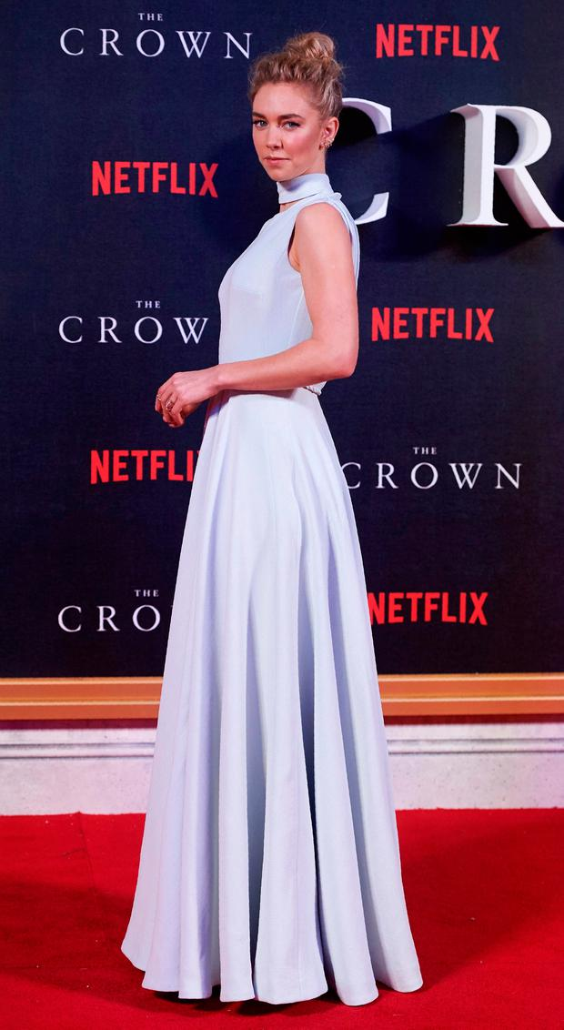 British actress Vanessa Kirby poses as she arrives on the red carpet to attend the world premiere of the film 'The Crown'