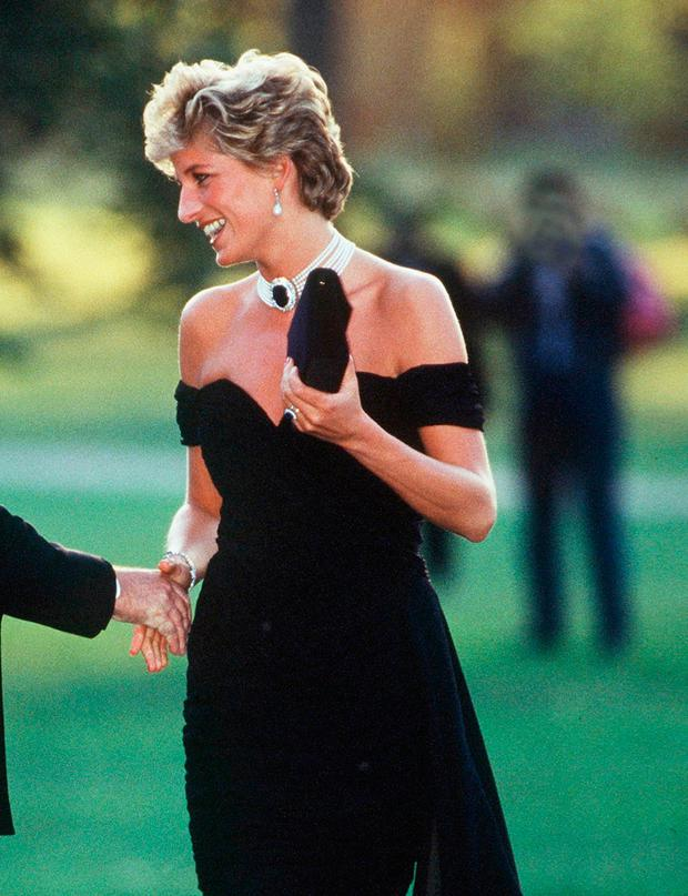 Princess Diana arrives at the 1994 Serpentine Gallery summer party in a Christina Stambolian frock