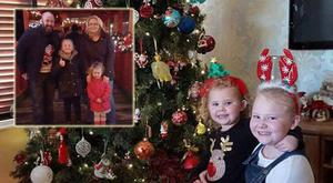 Pictured: Pamela's daughters Isabelle (3) and Emily (8) enjoy the Christmas decorations, Inset: The family pictured last Christmas