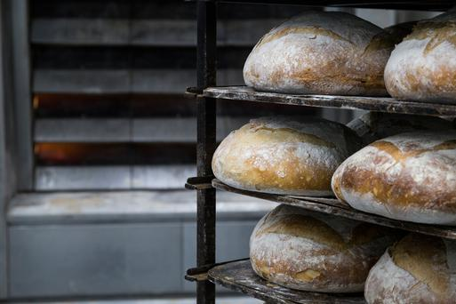 Trays of bread in a bakery (Stock)