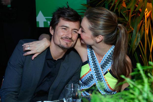 Actor Orlando Bloom (L) and Miranda Kerr attend Global Green USA's 10th Annual Pre-Oscar Party at Avalon on February 20, 2013 in Hollywood, California. (Photo by Alexandra Wyman/Getty Images for Global Green)
