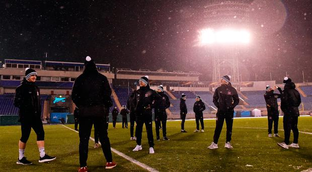 A general view of Dundalk players before the start of squad training at Stadion Pertrovskiy in St Petersburg