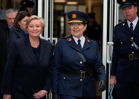 Justice Minister Frances Fitzgerald with Garda Commissioner Noirín O'Sullivan at the Garda College, Templemore, for a passing out ceremony. Photo: Mark Condren