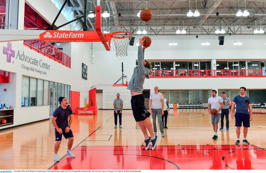 Jordi Murphy of Ireland shoots a basketball during a squad visit to the Chicago Bulls training facility, The Advocate Center, in Chicago, USA. Photo by Brendan Moran/Sportsfile