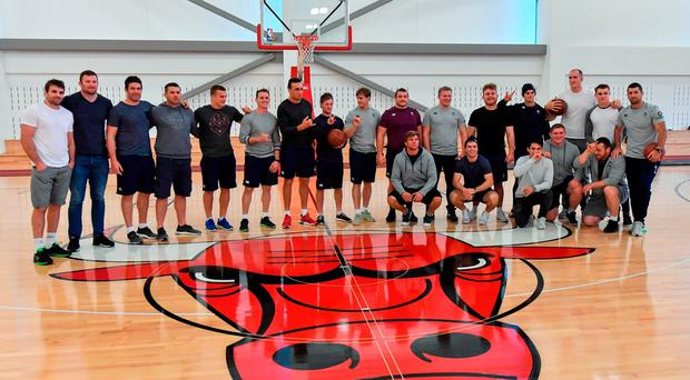Members of the Ireland squad during a squad visit to the Chicago Bulls training facility yesterday. Photo: Brendan Moran/Sportsfile