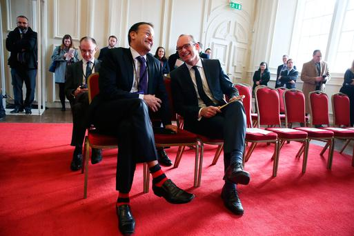Social Protection Minister Leo Varadkar (left) and Housing Minister Simon Coveney at yesterday's talks Picture: PA
