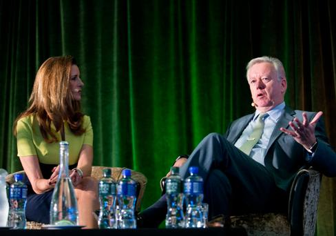 John Saunders with CNN reporter Gina London at the PRII conference