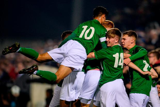 Cork players celebrate Aaron Dinan's goal against Roma EOIN NOONAN/SPORTSFILE