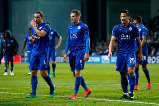 Leicester City's Danny Drinkwater, Jamie Vardy and Shinji Okazaki after the match Action Images via Reuters / Andrew Couldridge Livepic EDITORIAL USE ONLY.