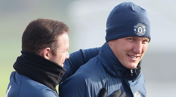 Wayne Rooney and Bastian Schweinsteiger during a United training session at the Aon Training Complex. Photo by Matthew Peters/Man Utd via Getty Images