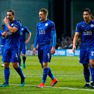 Leicester City's Danny Drinkwater, Jamie Vardy and Shinji Okazaki leave the pitch after securing a point in Copenhagen. Photo: Action Images via Reuters / Andrew Couldridge Livepic