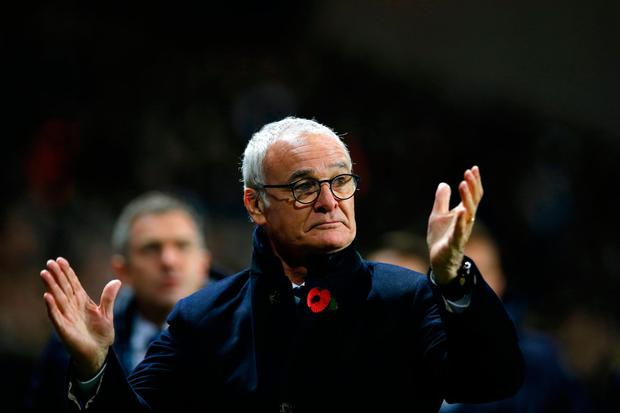 Leicester City manager Claudio Ranieri applauds towards the fans at full time. Photo: Action Images via Reuters / Andrew Couldridge Livepic