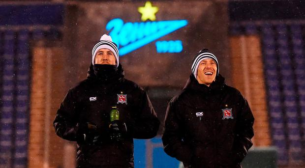 Brian Gartland, left, and David McMillan of Dundalk before the start of squad training at Stadion Pertrovskiy in St Petersburg, Russia. Photo by David Maher/Sportsfile