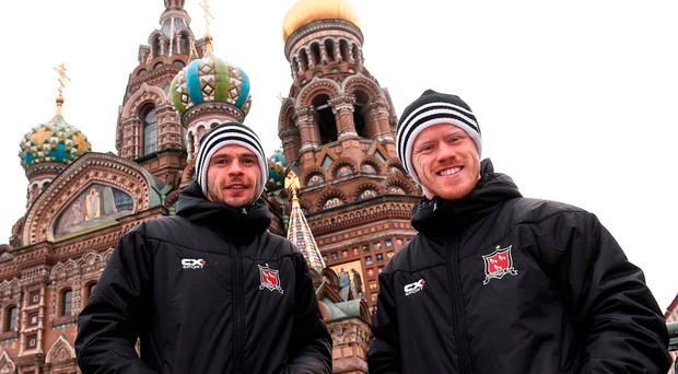 Dundalk's Andy Boyle (L) and Daryl Horgan – who were both included in Ireland's provisional squad to face Austria – are pictured in St Petersburg ahead of tonight's Europa League clash against Zenit. Photo by David Maher/Sportsfile